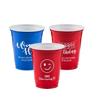 Personalized Birthday Solid-Color Plastic Party Cups 12oz