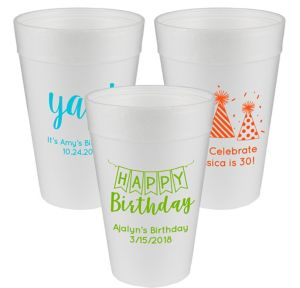 Personalized Birthday Foam Cups 32oz
