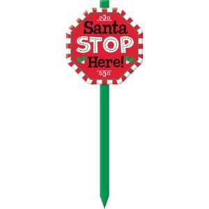 Santa Stop Here Yard Stake