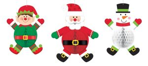 Jolly Christmas Honeycomb Balls 3ct