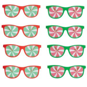 Green & Red Christmas Printed Glasses 10ct