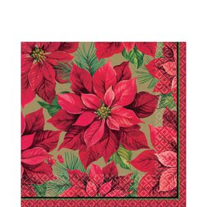 Holiday Poinsettia Lunch Napkins 16ct