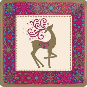 Whimsical Winter Deer Dinner Plates 18ct
