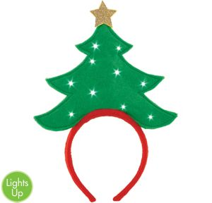 Light-Up Green Christmas Tree Headband
