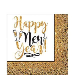 Gold Glitter New Year's Lunch Napkins 36ct