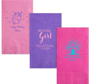 Personalized Girls Birthday Moire Guest Towels