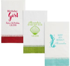 Personalized Girls Birthday Bordered Guest Towels
