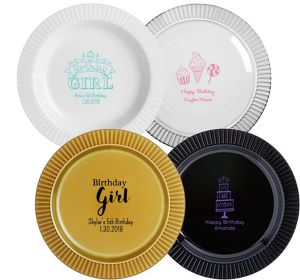 Personalized Girls Birthday Premium Plastic Dinner Plates