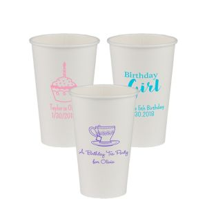 Personalized Girls Birthday Paper Cups 16oz
