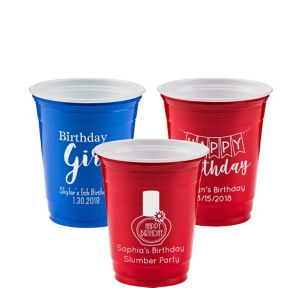 Personalized Girls Birthday Solid Color Plastic Party Cups 12oz