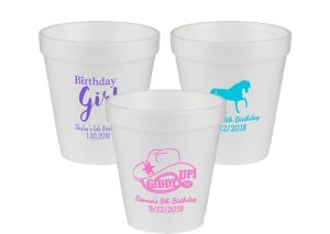 Personalized Girls Birthday Foam Cups 10oz