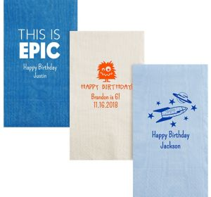 Personalized Boys Birthday Moire Guest Towels