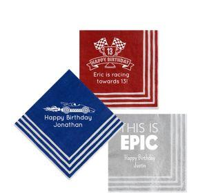 Personalized Boys Birthday Stripe Border Beverage Napkins