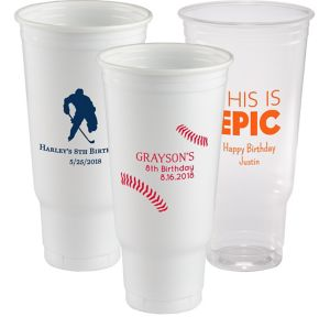 Personalized Boys Birthday Plastic Party Cups 44oz