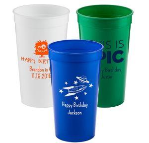 Personalized Boys Birthday Plastic Stadium Cups 32oz