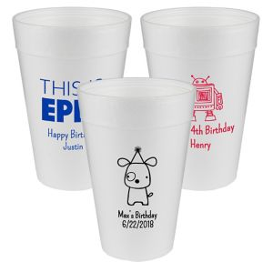 Personalized Boys Birthday Foam Cups 32oz