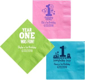 Personalized 1st Birthday Dinner Napkins