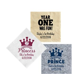 Personalized 1st Birthday Embossed Damask Beverage Napkins