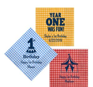 Personalized 1st Birthday Gingham Lunch Napkins