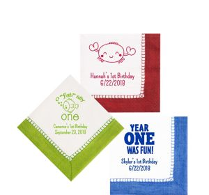 Personalized 1st Birthday Bordered Beverage Napkins