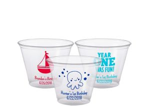 Personalized 1st Birthday Plastic Party Cups 9oz