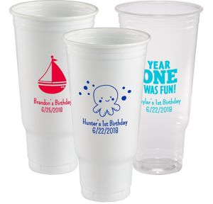 Personalized 1st Birthday Plastic Party Cups 44oz
