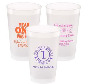 Personalized 1st Birthday Frosted Plastic Shatterproof Cups 24oz