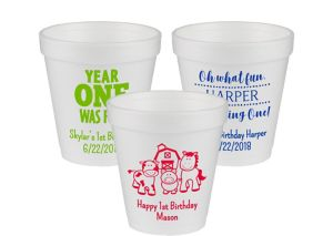 Personalized 1st Birthday Foam Cups 10oz
