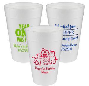 Personalized 1st Birthday Foam Cups 32oz