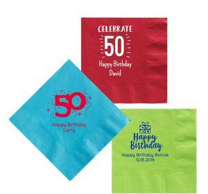 Personalized Milestone Birthday Lunch Napkins