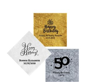Personalized Milestone Birthday Embossed Damask Beverage Napkins