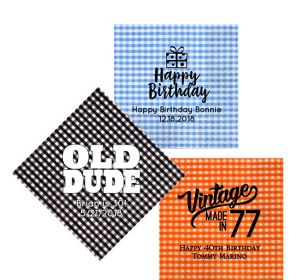 Personalized Milestone Birthday Gingham Lunch Napkins