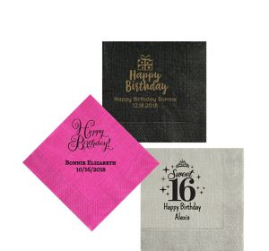 Personalized Milestone Birthday Moire Beverage Napkins