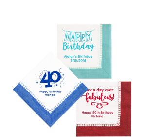 Personalized Milestone Birthday Bordered Beverage Napkins