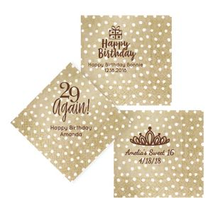 Personalized Milestone Birthday Small Dots Lunch Napkins