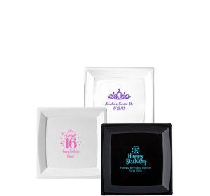Personalized Milestone Birthday Premium Plastic Square Dessert Plates