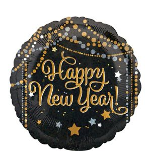 Black, Gold & Silver Dots and Stars Happy New Year Balloon