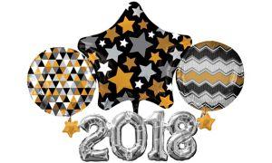 Black, Gold & Silver 2018 Balloon - Giant