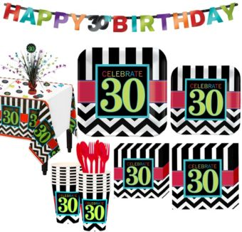 Celebrate 30th Birthday Party Kit for 16 Guests