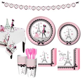Pink Paris 13th Birthday Party Kit for 16 Guests