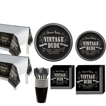 Vintage Dude Party Kit for 16 Guests