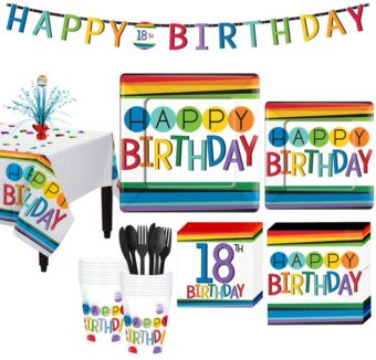 Rainbow 18th Birthday Party Kit for 16 Guests