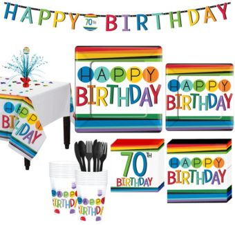 Rainbow 70th Birthday Party Kit for 16 Guests