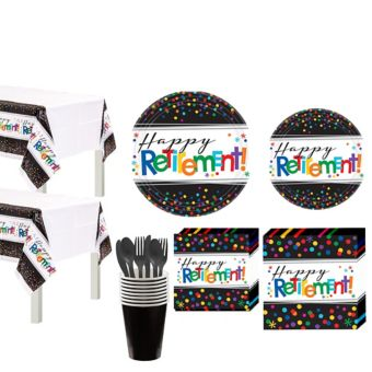Happy Retirement Celebration Party Kit for 16 Guests