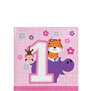 Pink One is Fun 1st Birthday Beverage Napkins 16ct