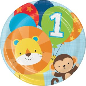 Blue One is Fun 1st Birthday Lunch Plates 8ct