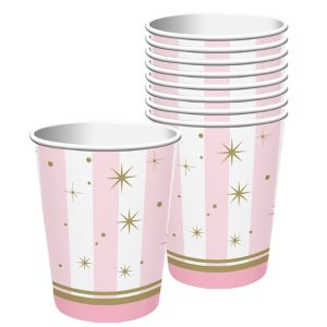 Pink Striped Cups 8ct