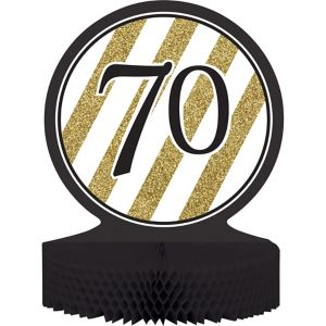 White & Gold Stripe 70 Honeycomb Centerpiece