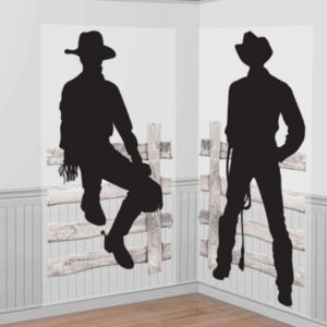 Silhouette Cowboy Scene Setter 2pc