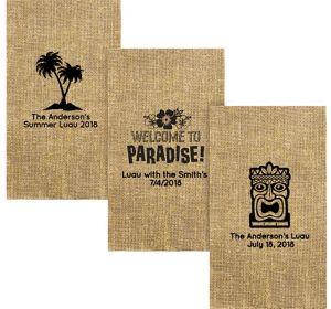 Personalized Luau Burlap Print Guest Towels